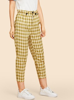 Button Front Plaid Print Pants