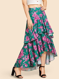Layer Floral Print Skirt