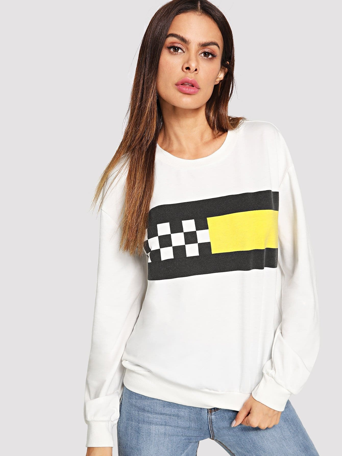 Купить Цветной блок Gingham Sweatshirt, Andy, SheIn