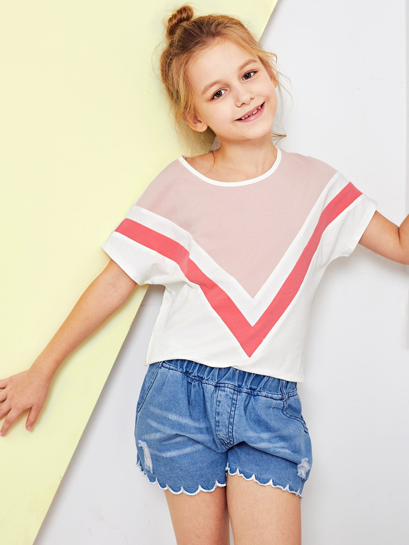 Girls Cut And Sew Printed Top girls cut and sew top