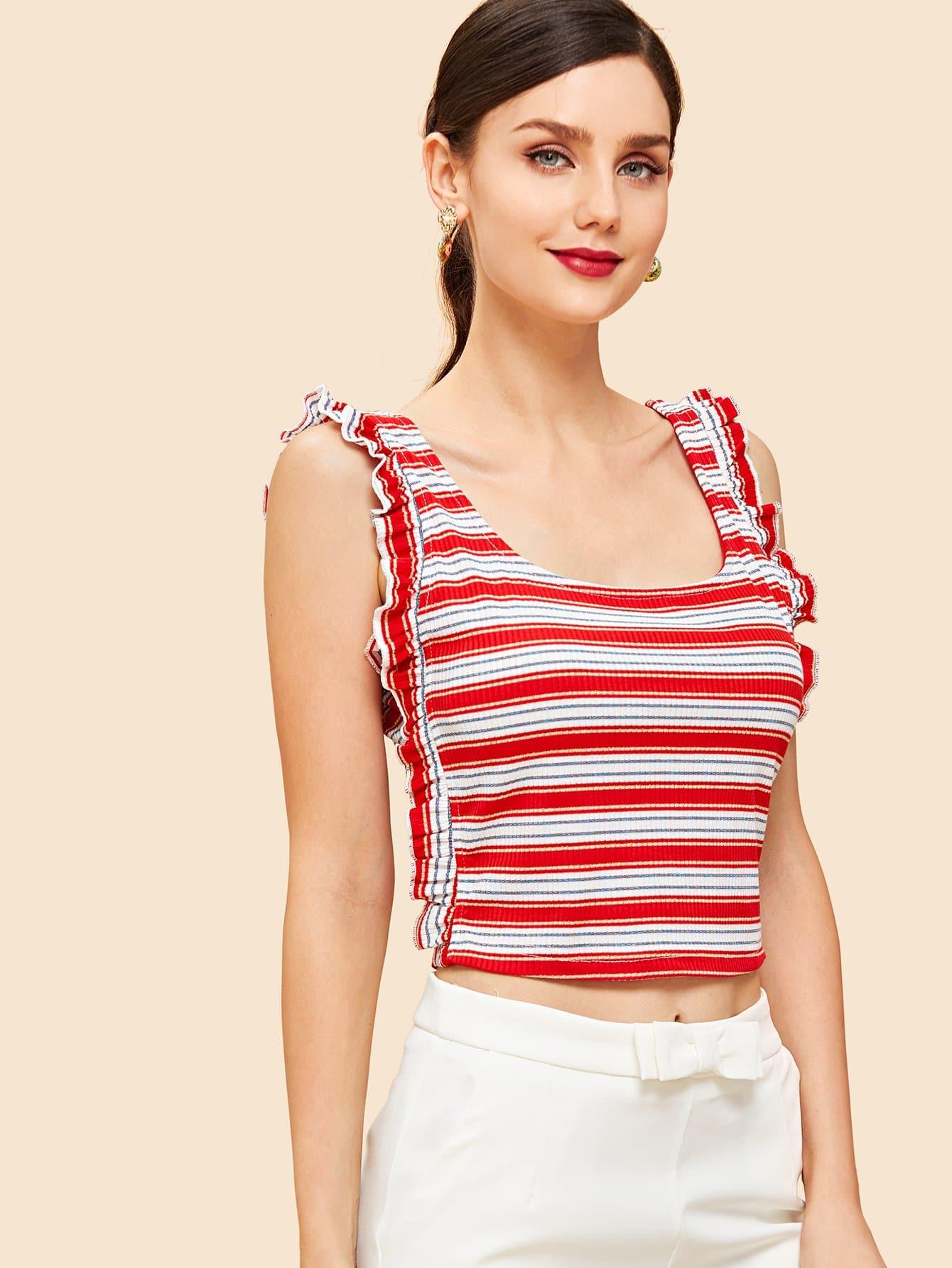 Frill Detail Rib Knit Striped Tank Top rib knit tank top