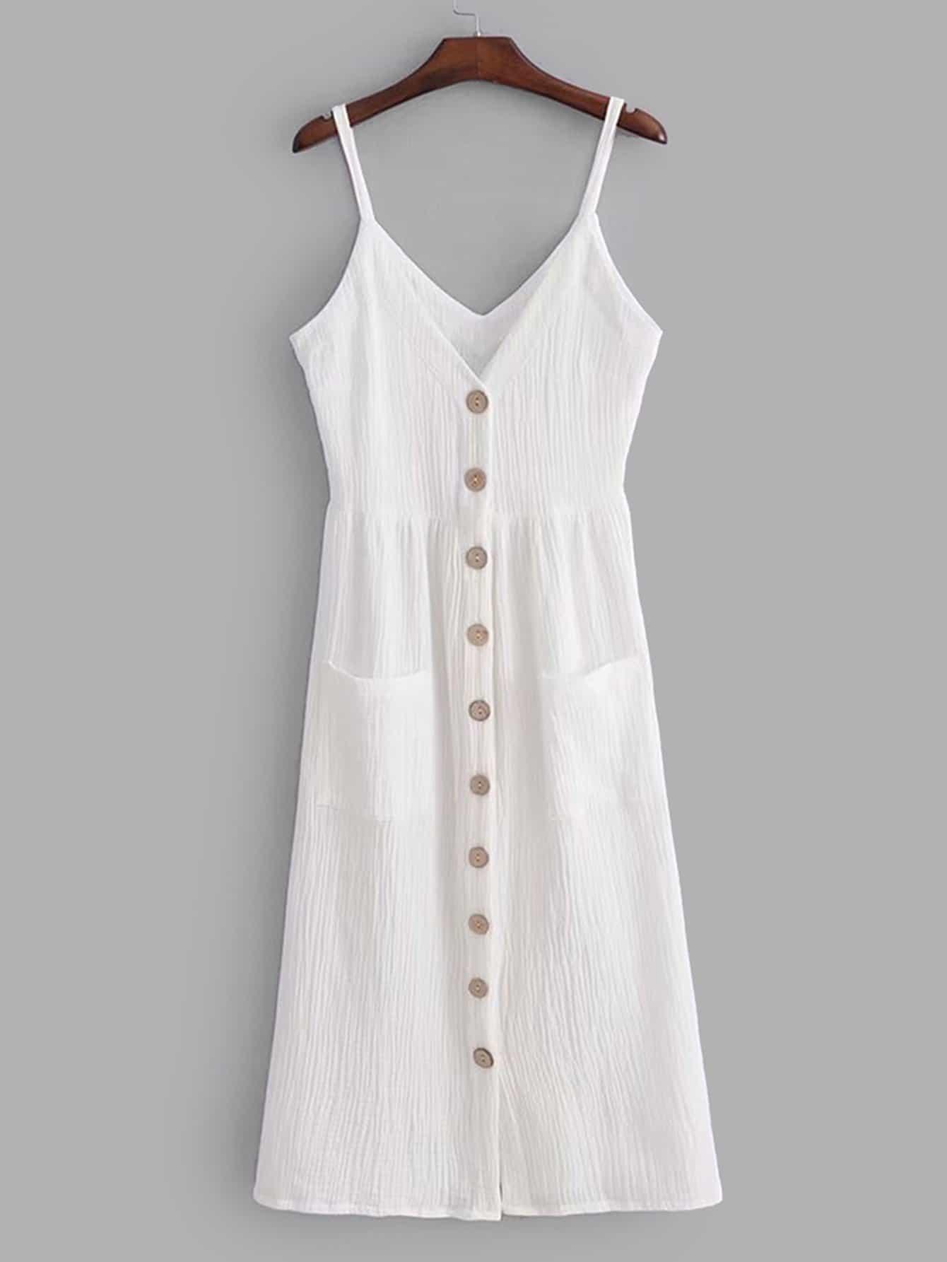 Купить Платье на бретелях с украшением пуговицы перед одежды и двух кармана, null, SheIn