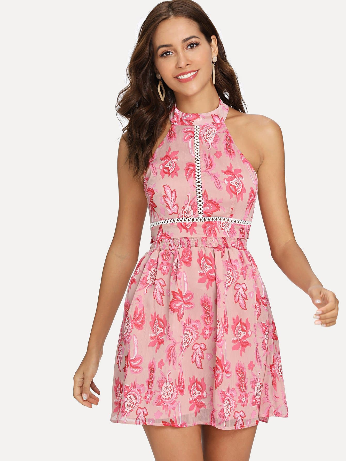 Bow Tie Back Floral Halter Dress tie back floral dress