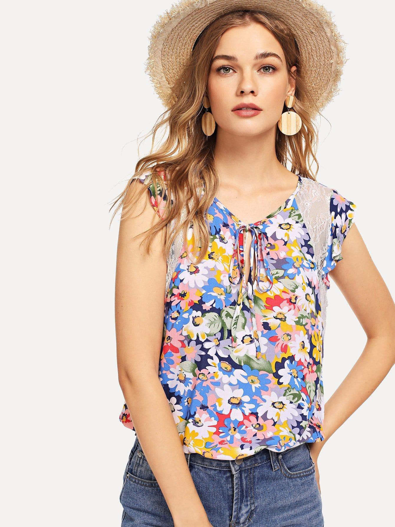 Купить Кружевной вставной узел Цветочная блузка, Teresa, SheIn