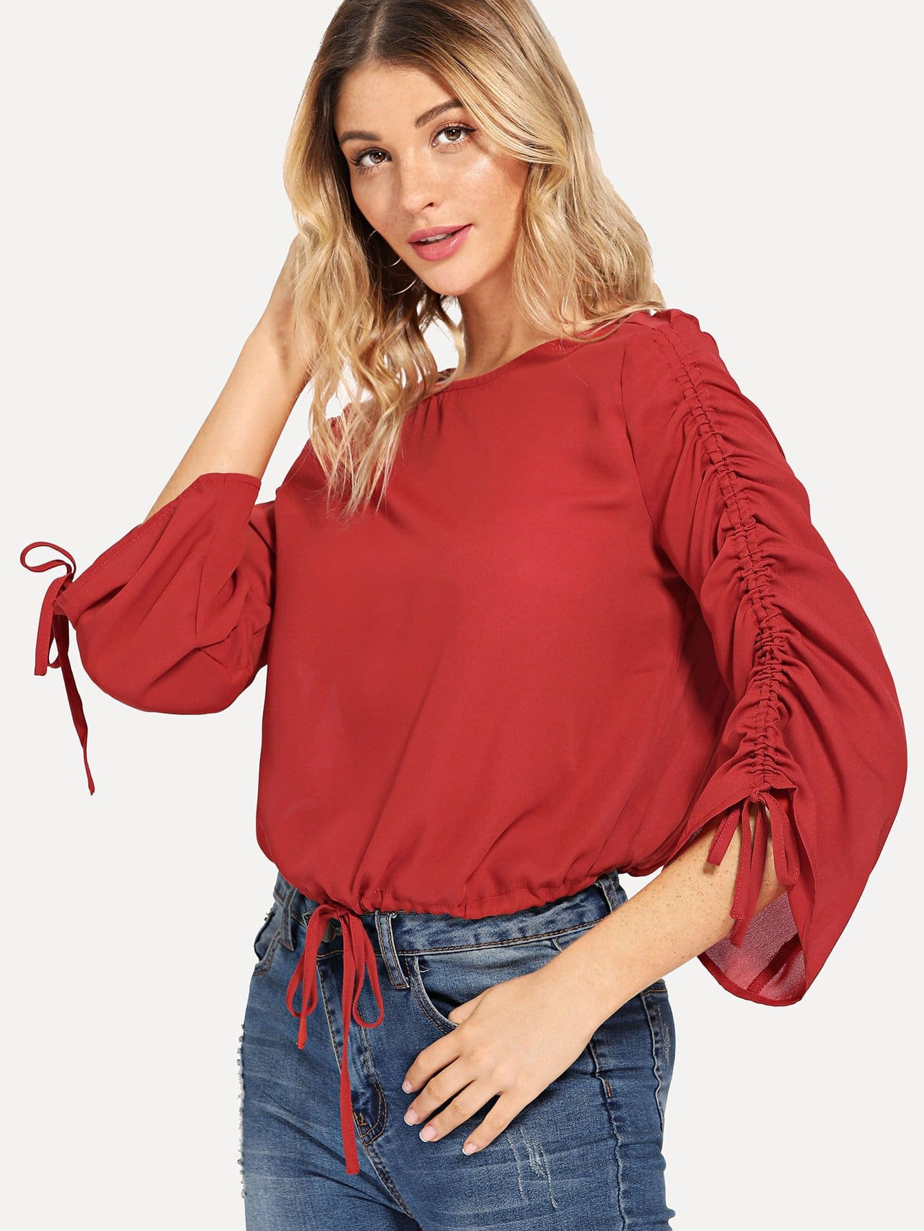 Drawstring Waist Knot Solid Top