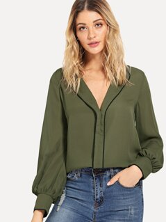 Pleated Collar Neck Top