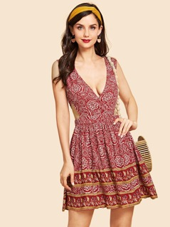 Cutout Side Fit & Flare Dress