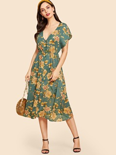 Button Up Flower Print Dress