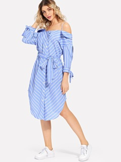 Button Front Waist Belted Striped Dress
