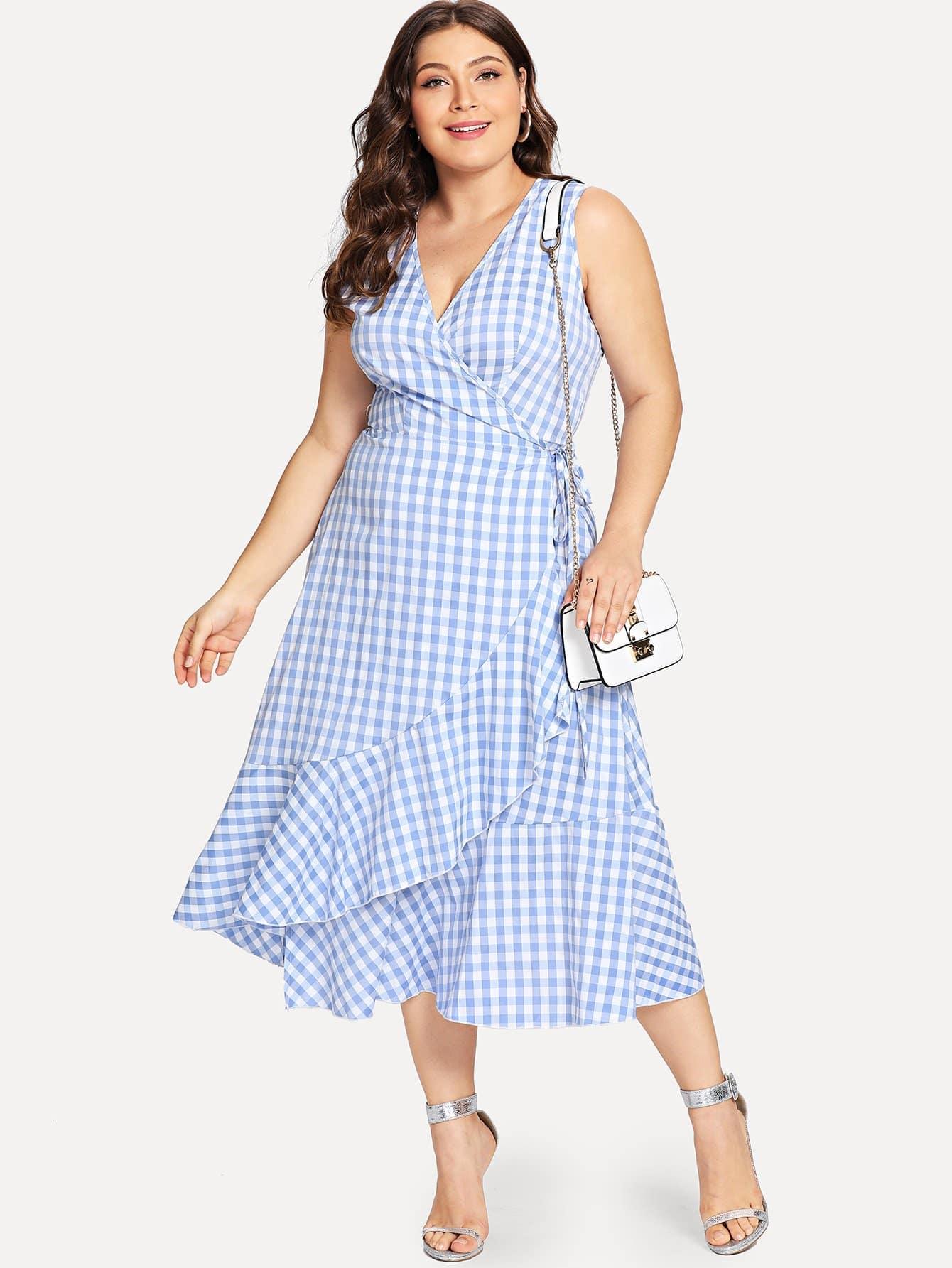 Plus Deep V-Neck Ruffle Hem Plaid Dress wrap front tied v back ruffle hem dress