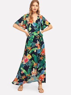 V-Neck Flower Print Bell Sleeve Dress