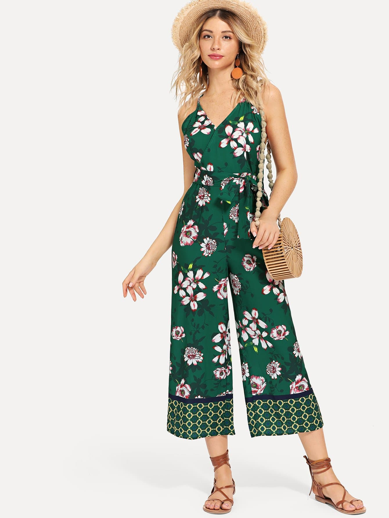 Flower Print Wide Leg Cami Jumpsuit girls flower embroidered wide leg jumpsuit