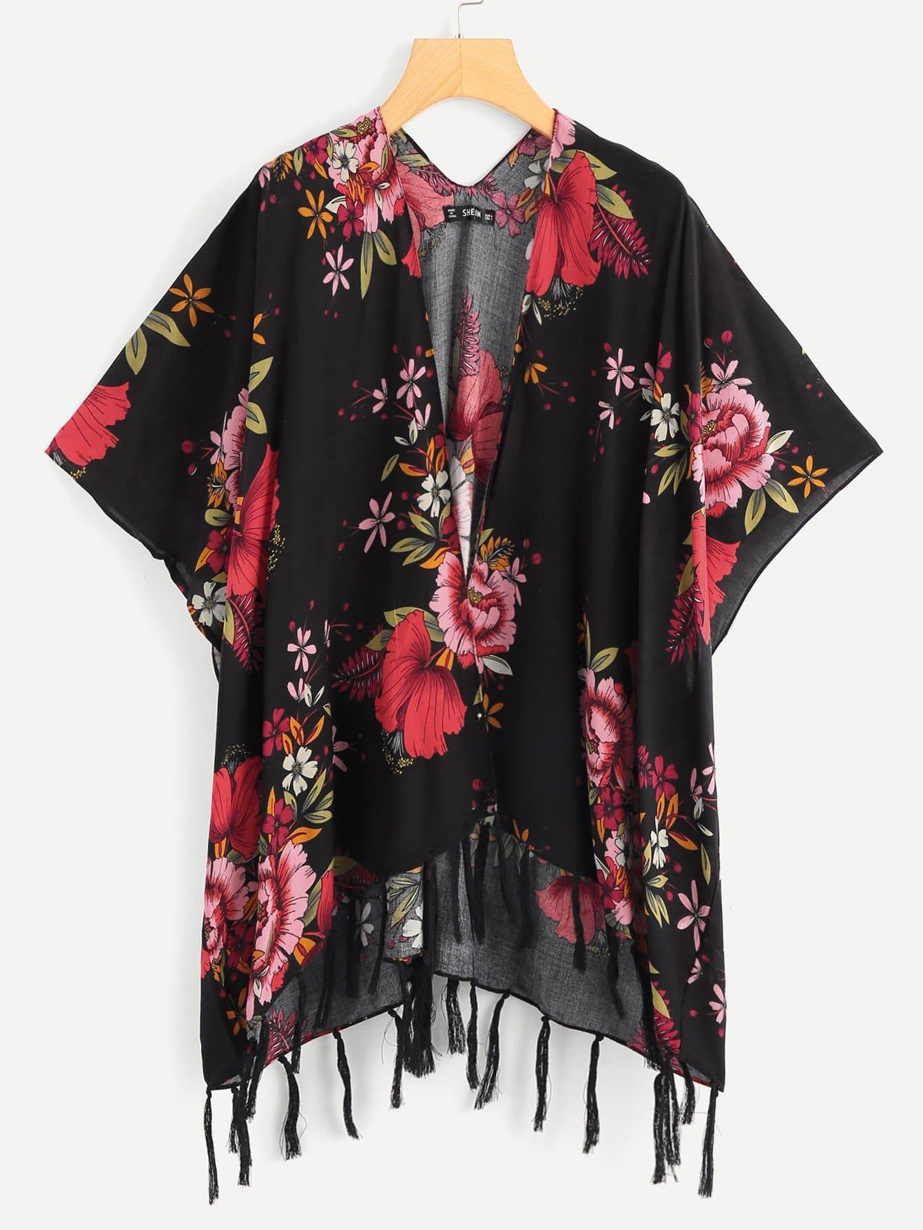 Купить Цветочная печать Tassel Hem Kimono, null, SheIn
