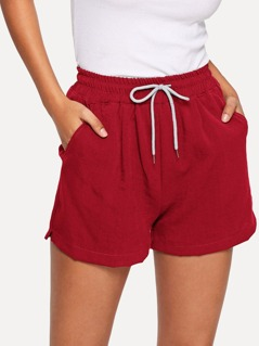 Waist Drawstring Pocket Shorts