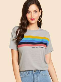 Rainbow Striped & Letter Print Tee