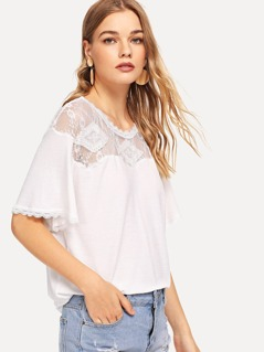 Lace Insert Shoulder Tunic Tee