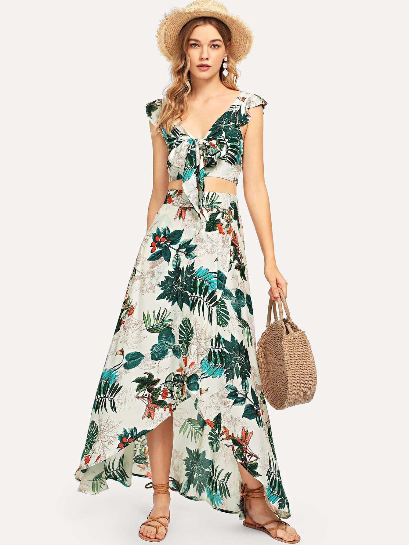 Купить Верхняя часть обрезного кольца и асимметричная юбка, Teresa, SheIn