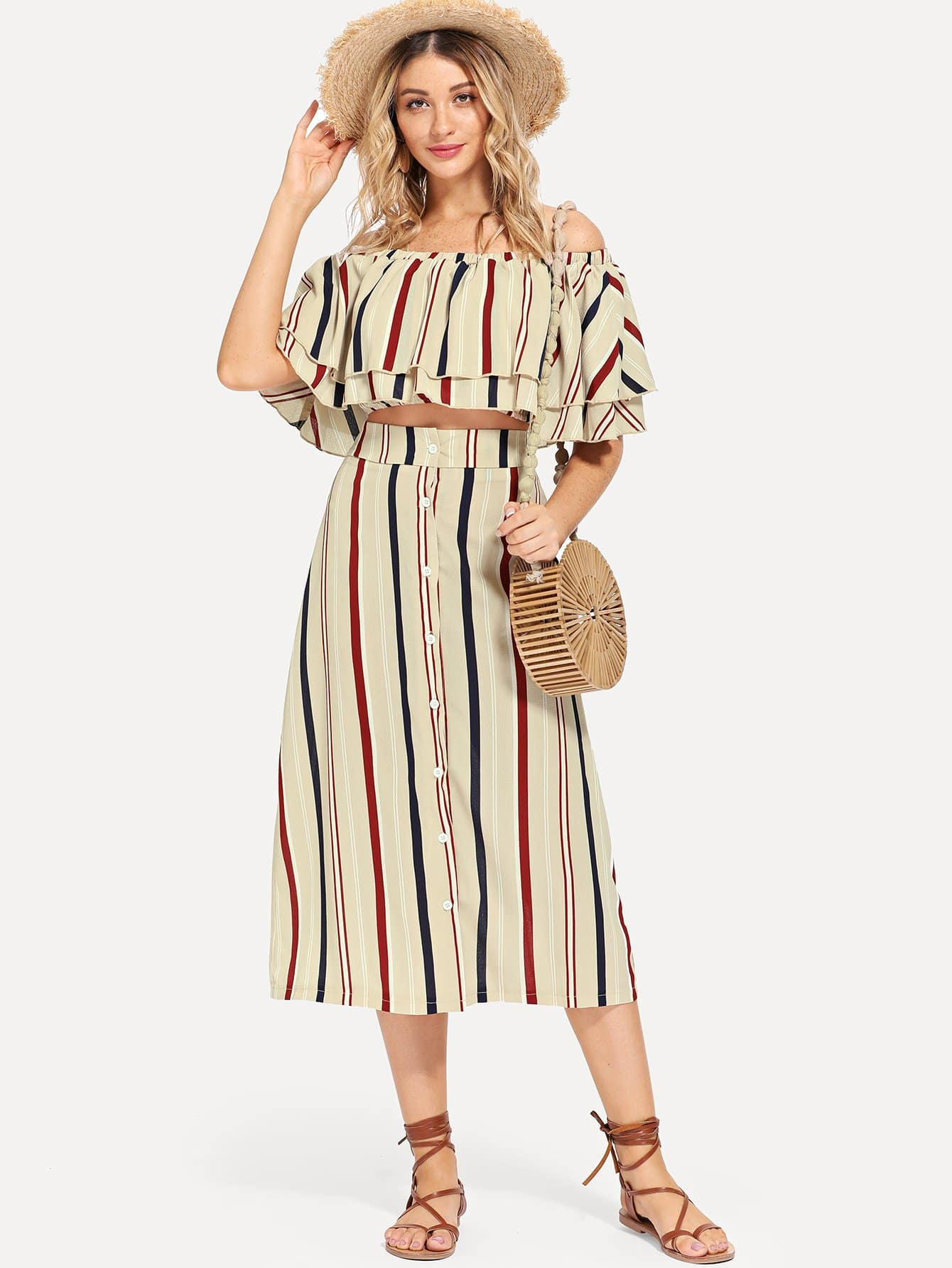 Ruffle Off Shoulder Striped Top & Button Up Юбки Co-Ord