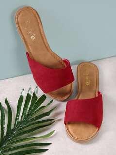 Faux Suede Single Band Peep Toe Slide Sandal