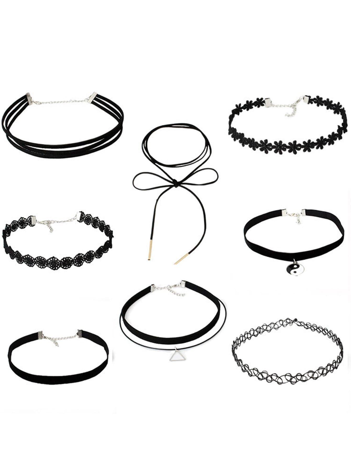 Купить Набор многослойного ожерелья с украшением кружева 8 шт, null, SheIn