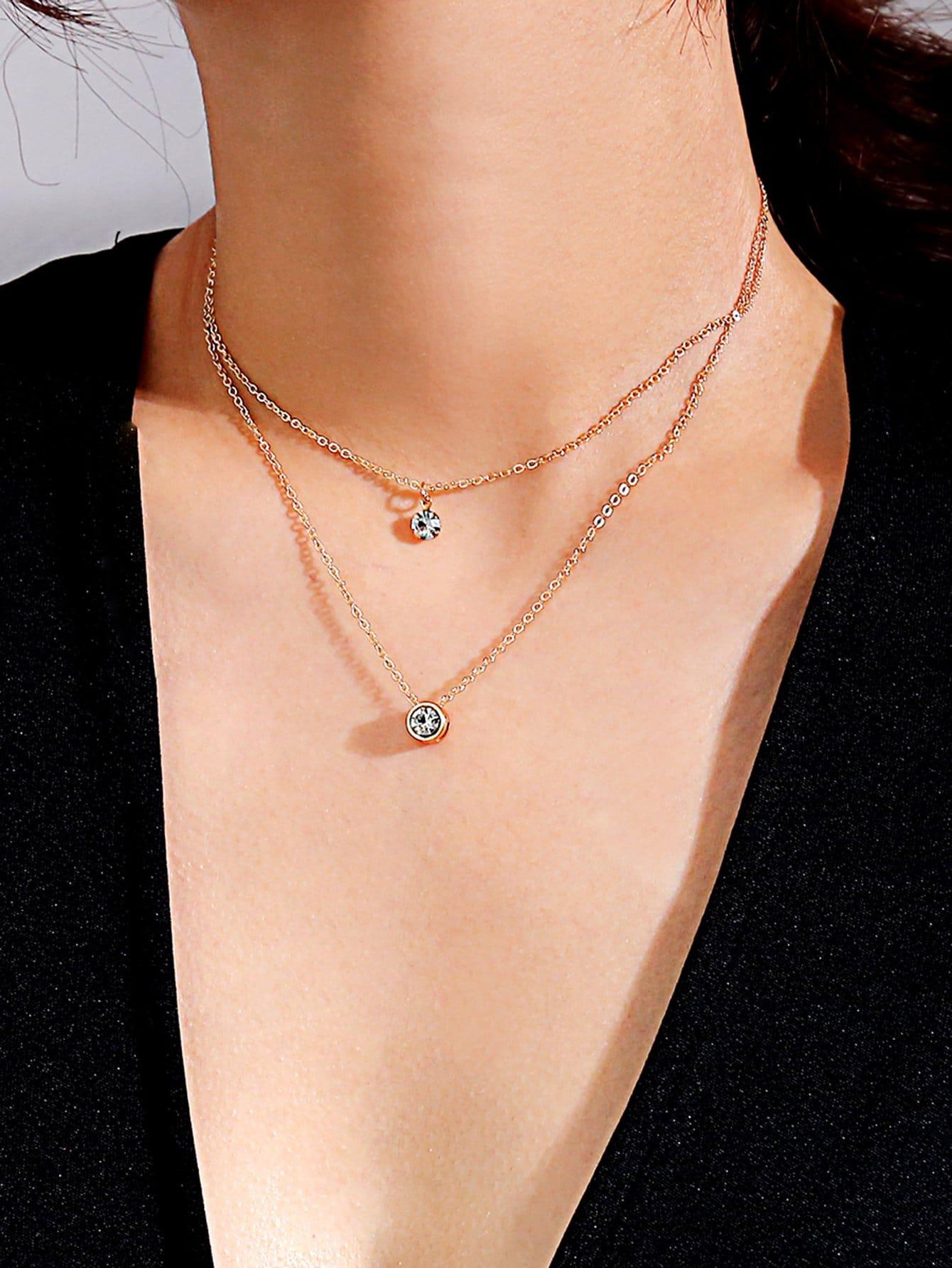 Strass Anhänger geschichteten Kette Halskette