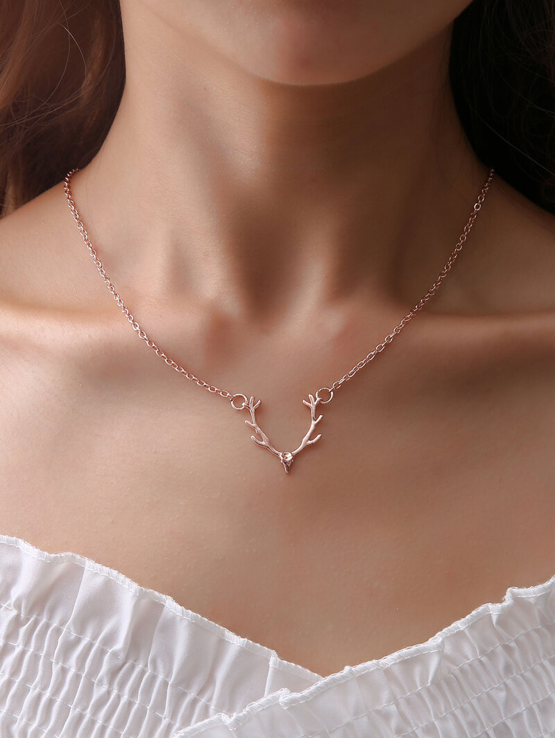 Deer Pendant Chain Necklace, Gold