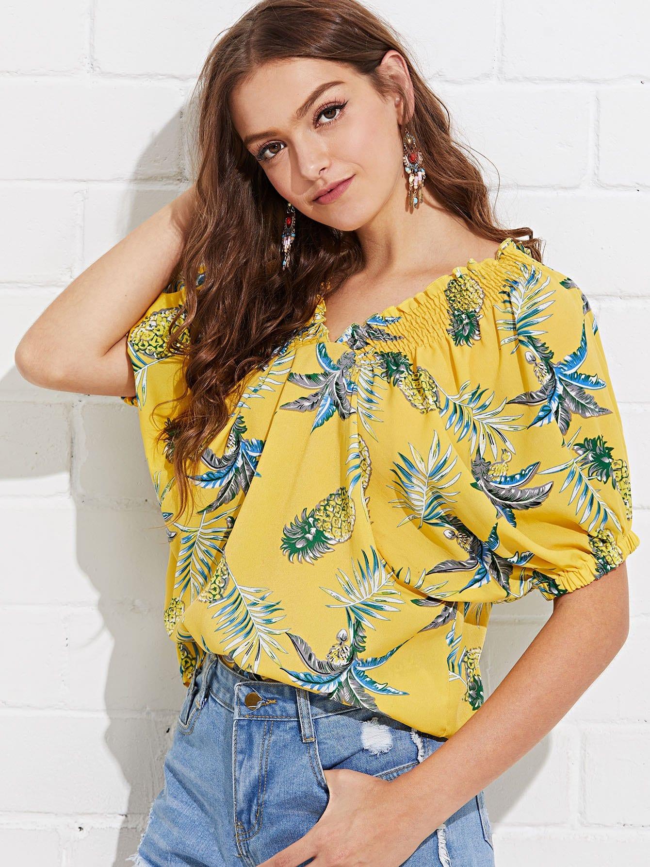 Купить Рубашка с рисунками тропических листьев и воротник со складками, Luiza, SheIn