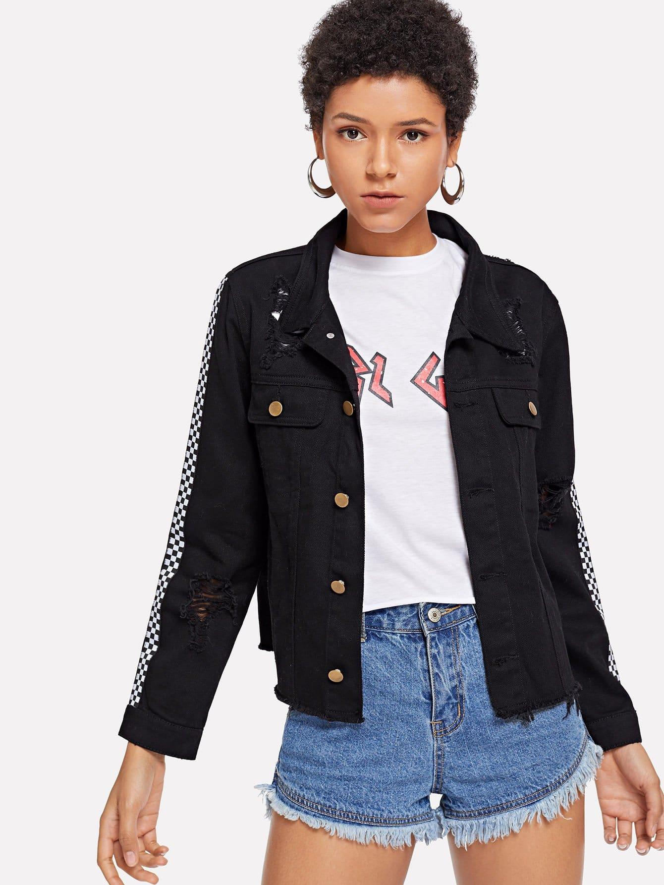 Купить Рваная куртка и с украшением пуговицы и с рукавами в клетку, Ana, SheIn
