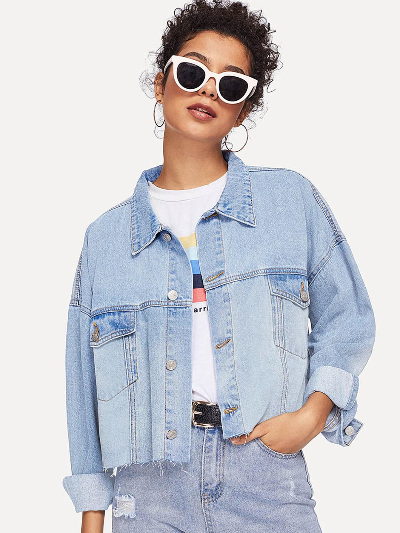 Pocket Patched Crop Buttoned Jacket