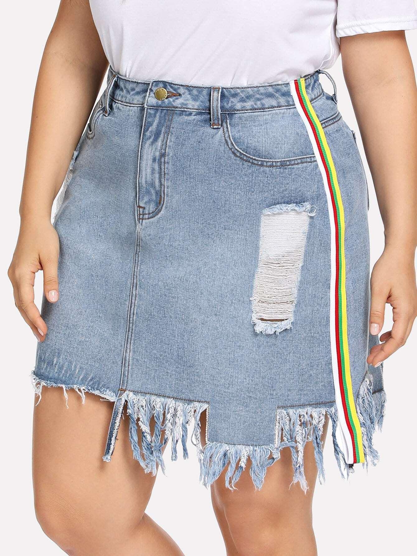 Купить Большая юбка и с полосами по обе стороны и асимметричный подол, Franziska, SheIn