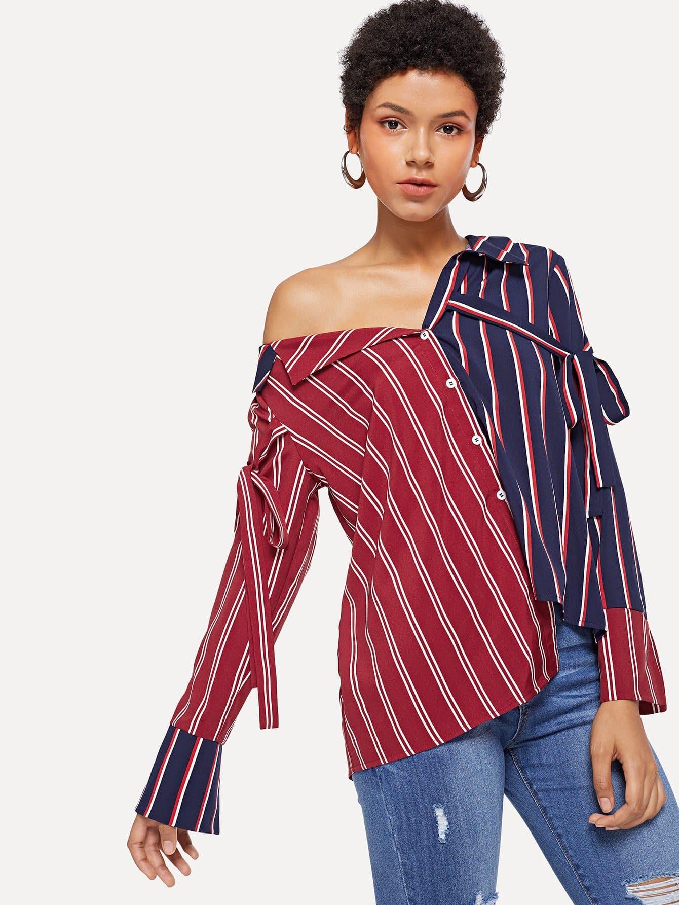 Button Up & Tie Detail Полосатая блузка