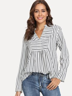 V Neck Striped Print Blouse