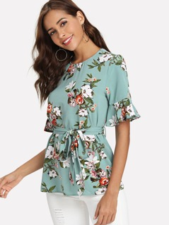 Floral Print Flounce Sleeve Belted Top