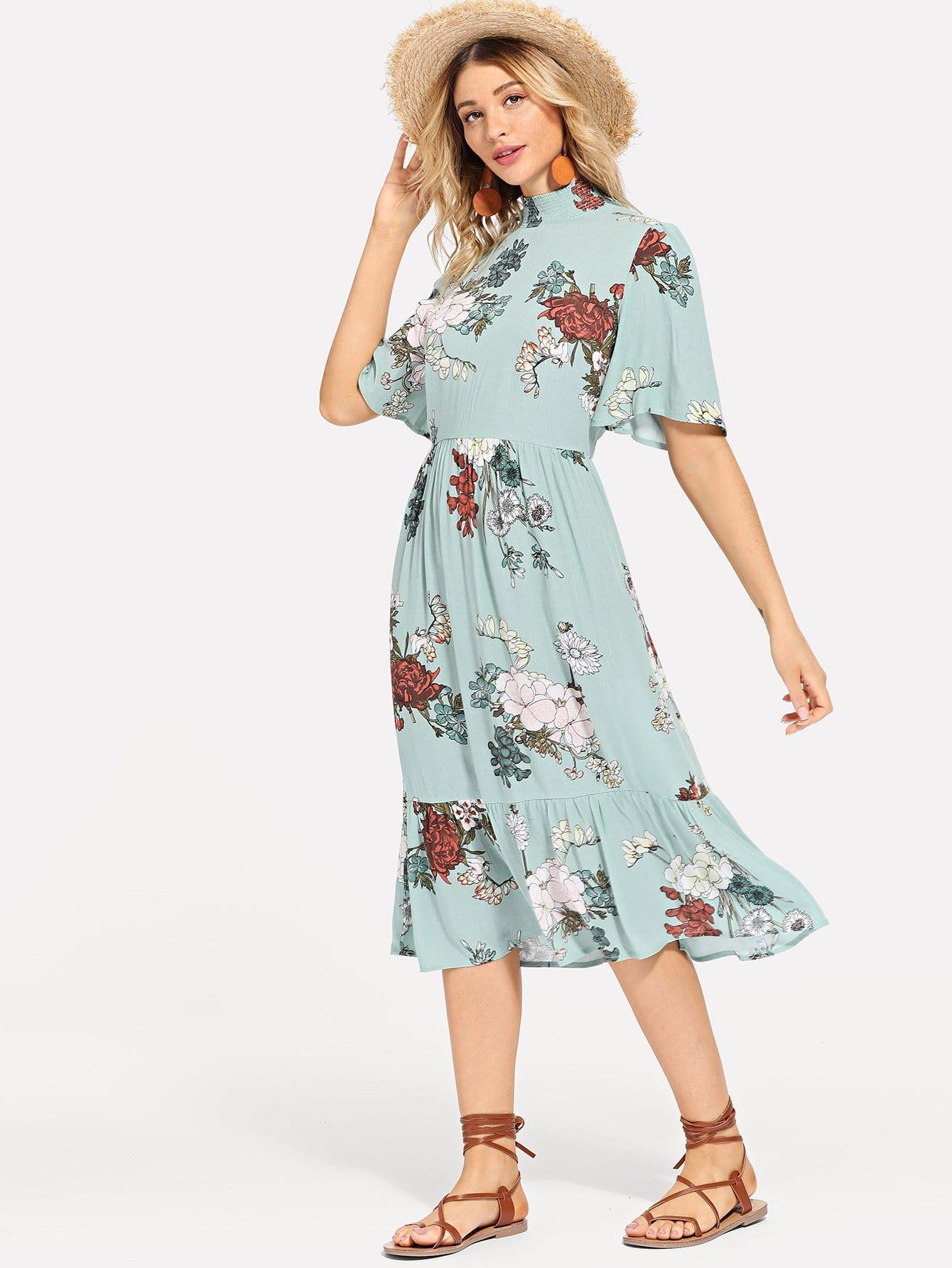 Shirred Mock Neck Keyhole Back Цветочные платья