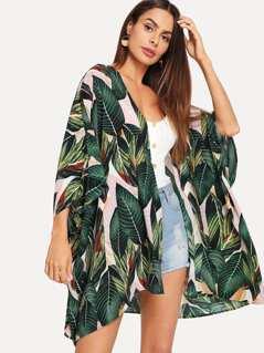 Jungle Leaf Print Batwing Sleeve Kimono