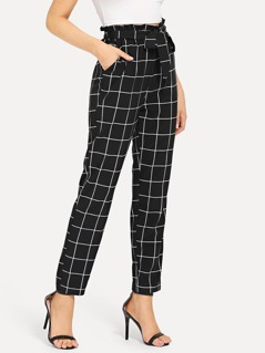 Self Belted Slant Pocket Grid Pants
