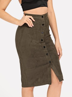 Button Up Suede Bodycon Skirt