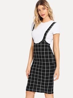 Slit Back Grid Skirt with Strap