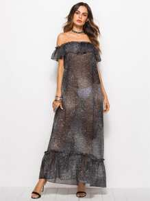 Ruffle Trim Frill Sheer Dress