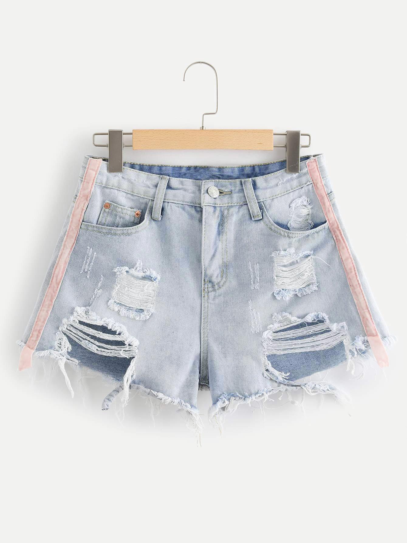 Plus Striped Raw Hem Ripped Denim Shorts