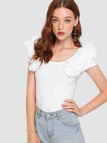 Ruffle Trim Cut Out Back Tee