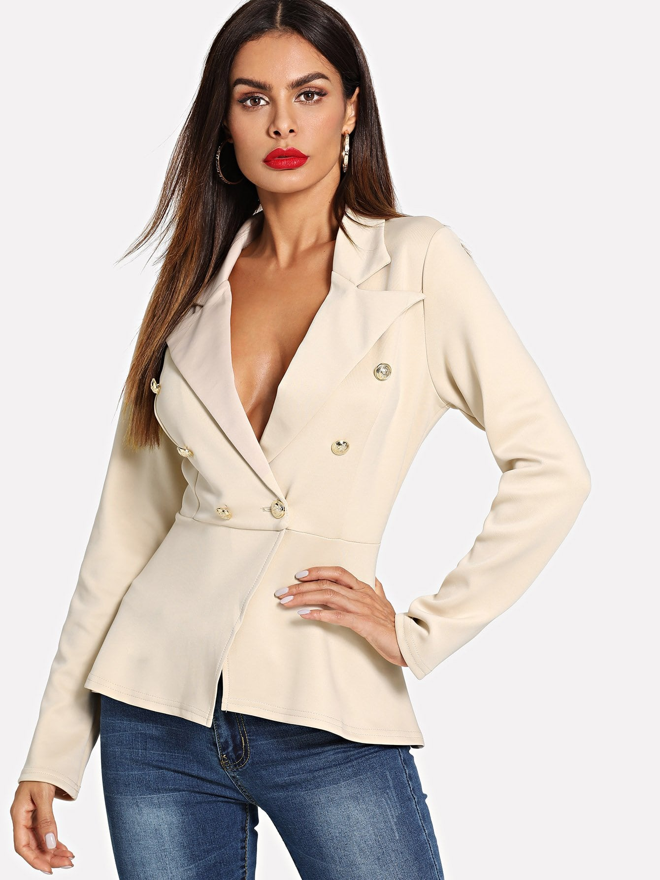 Купить Простой пиджак с украшением пуговицы перед одежды, Andy, SheIn