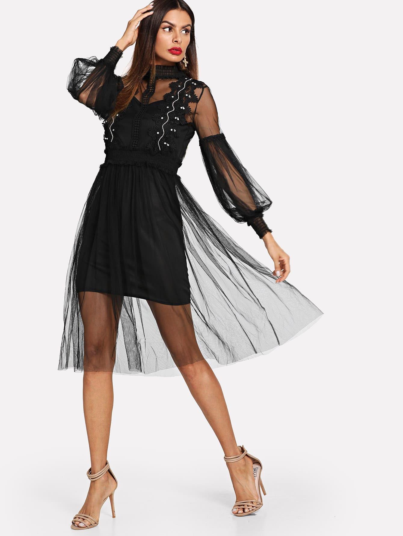 Купить Простое сетчатое платье с украшением жемчугов и топ, Andy, SheIn
