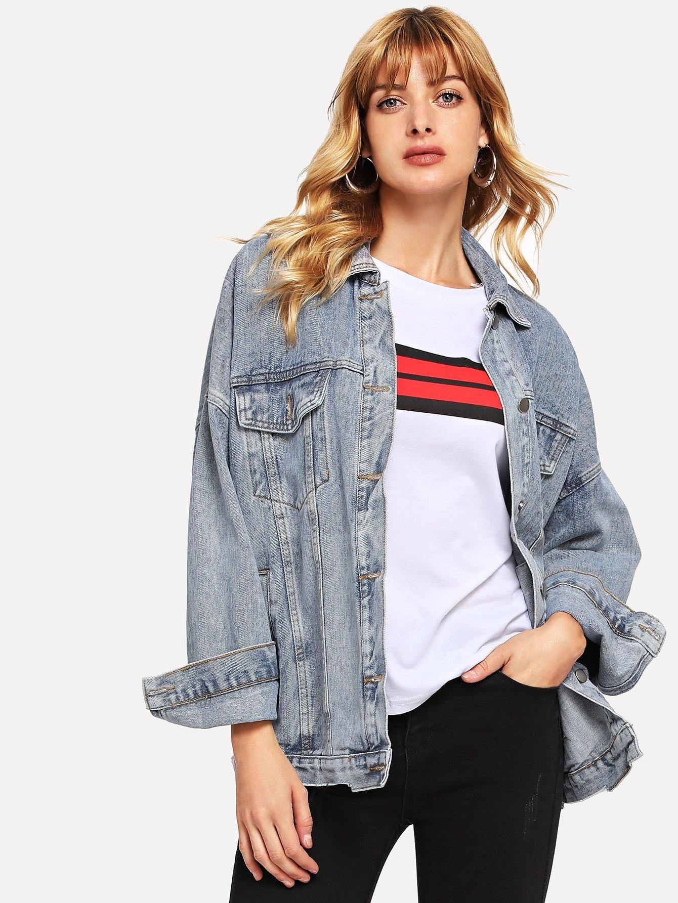 Pocket Front Button Denim Jacket