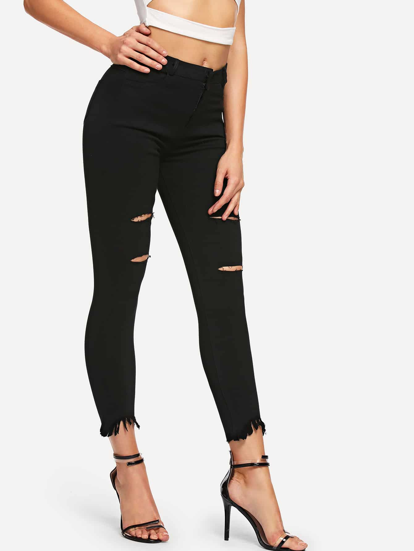 Ripped Skinny Solid Jeans