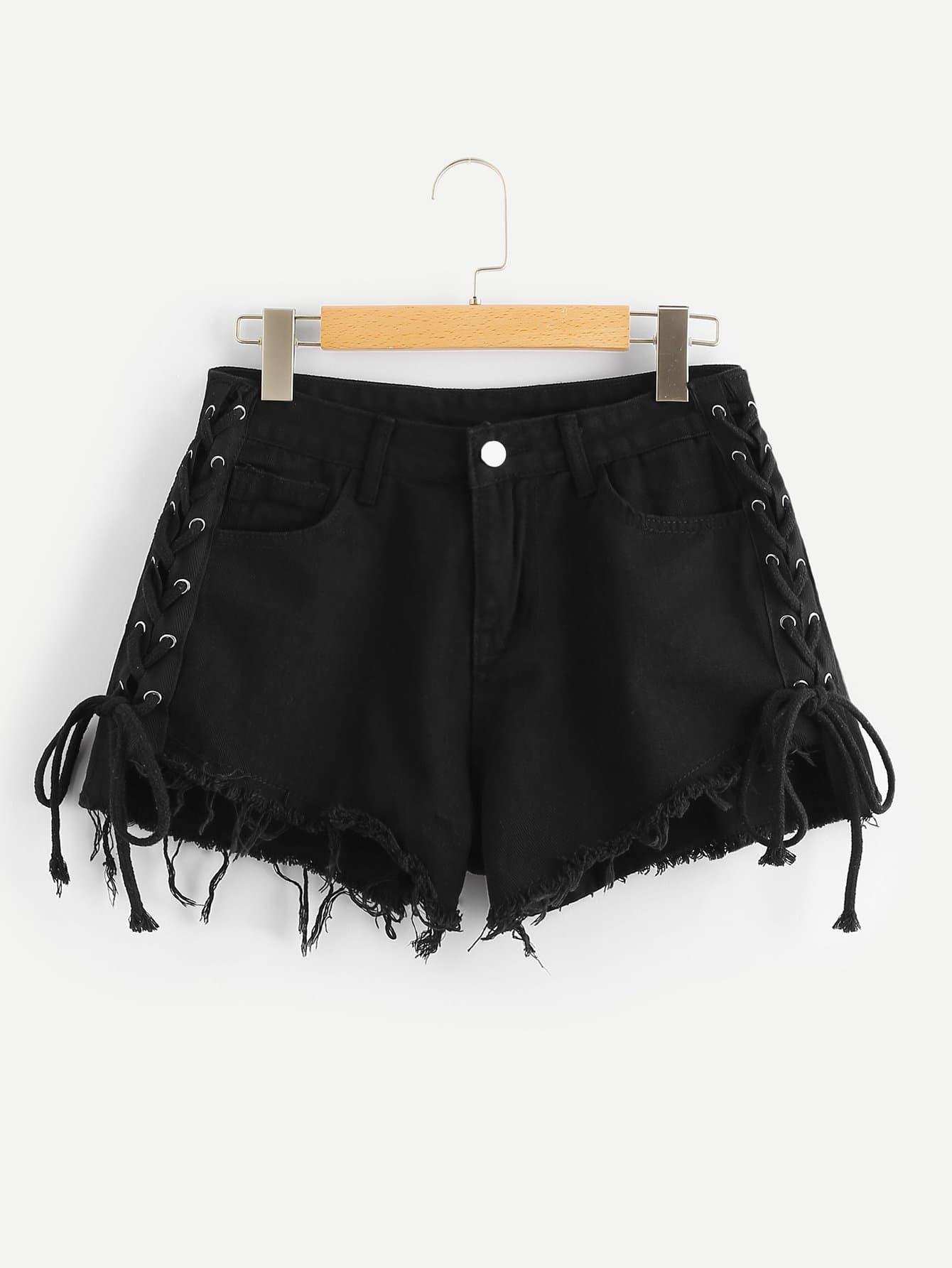 Купить Джинсовые шорты с кружевными оборками и Raw подол, null, SheIn