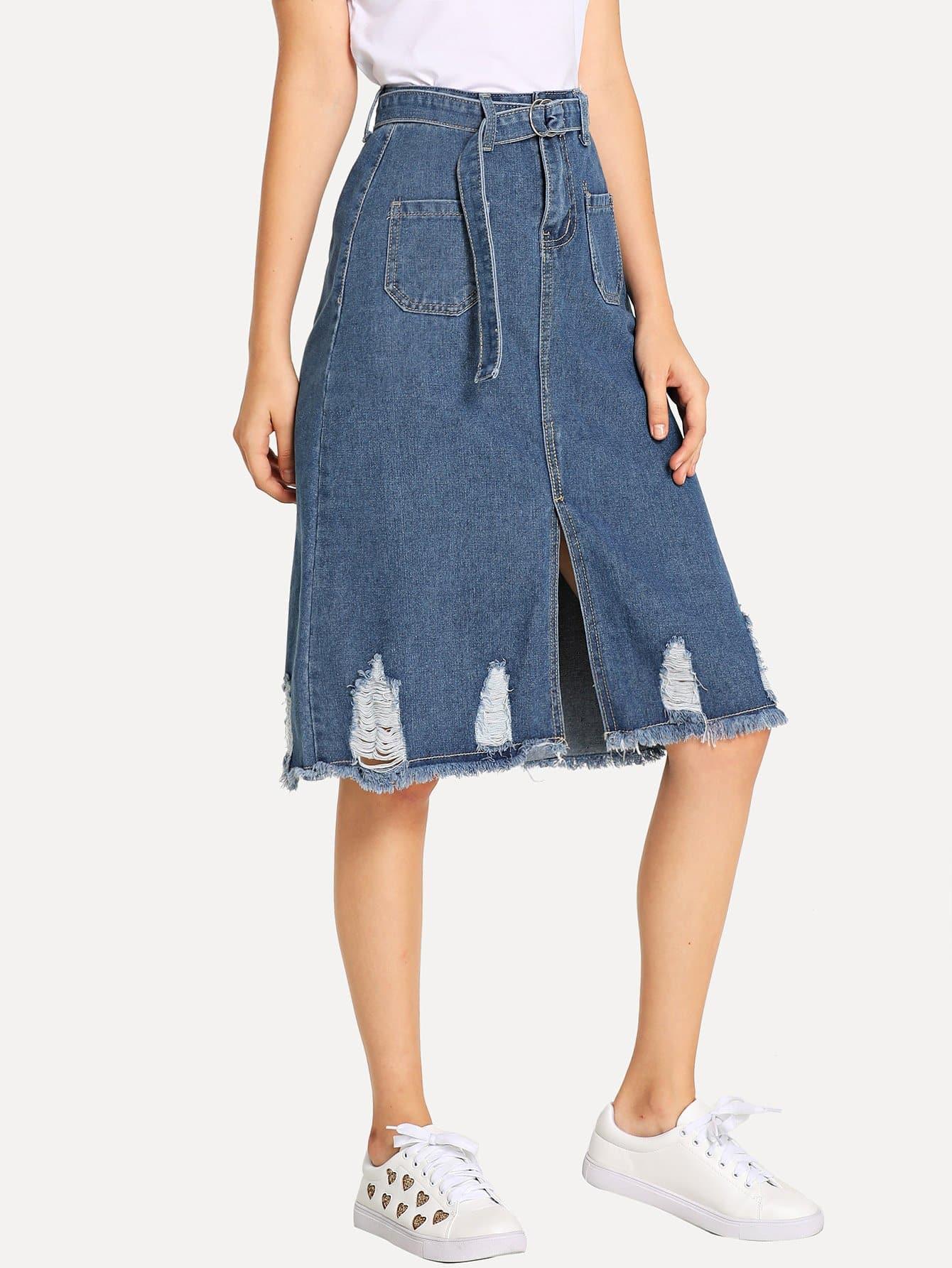 Ripped Raw Hem Split Front Belt Denim Skirt