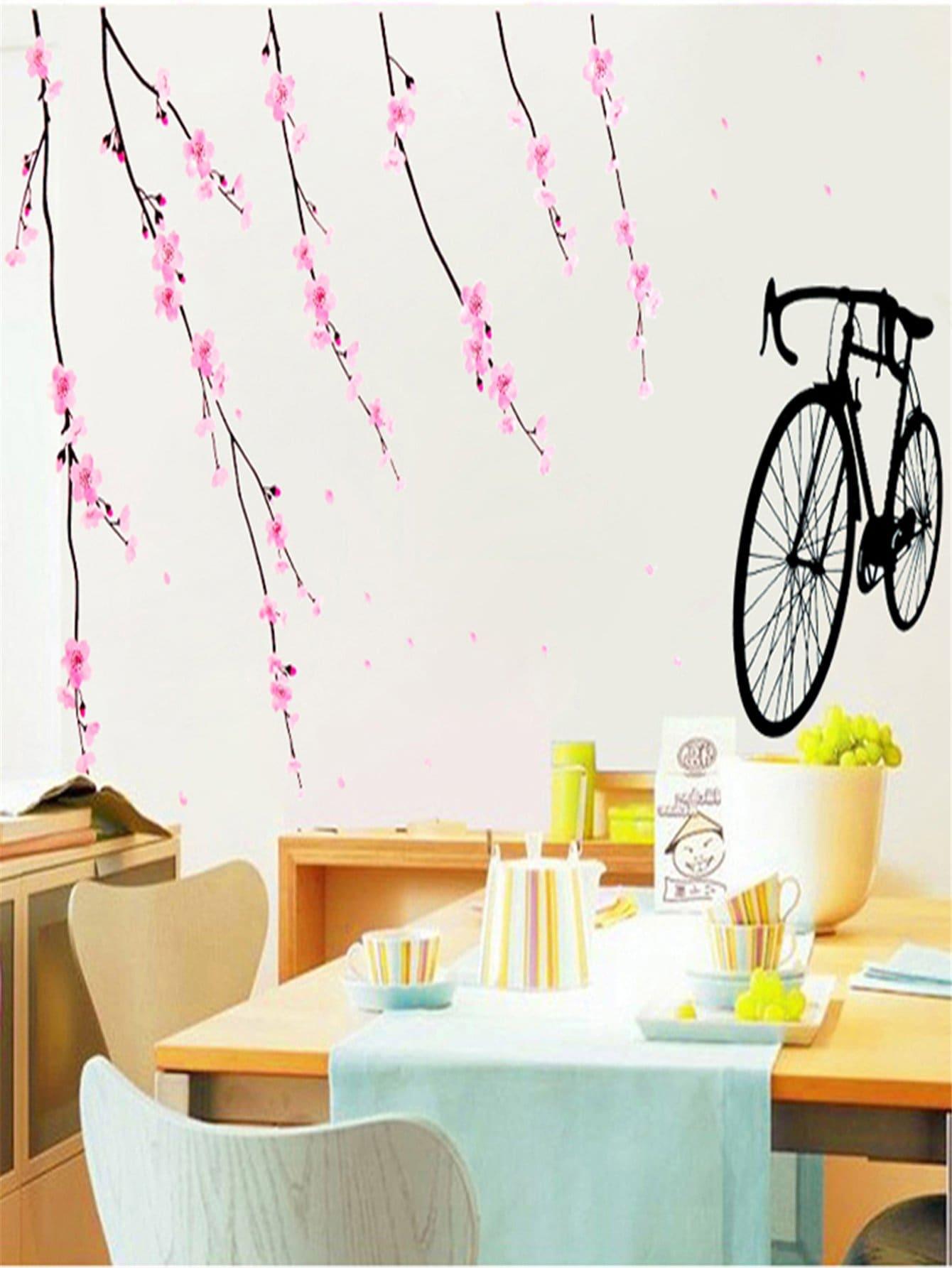 La Fleur Et Le Vélo Sticker Mural
