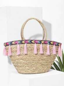 Tassel Decorated Straw Bag