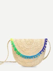 Pom Pom Trim Straw Bag